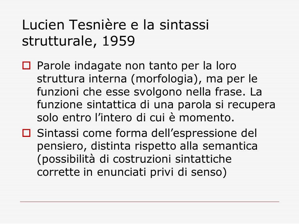 Lucien Tesnière e la sintassi strutturale, 1959