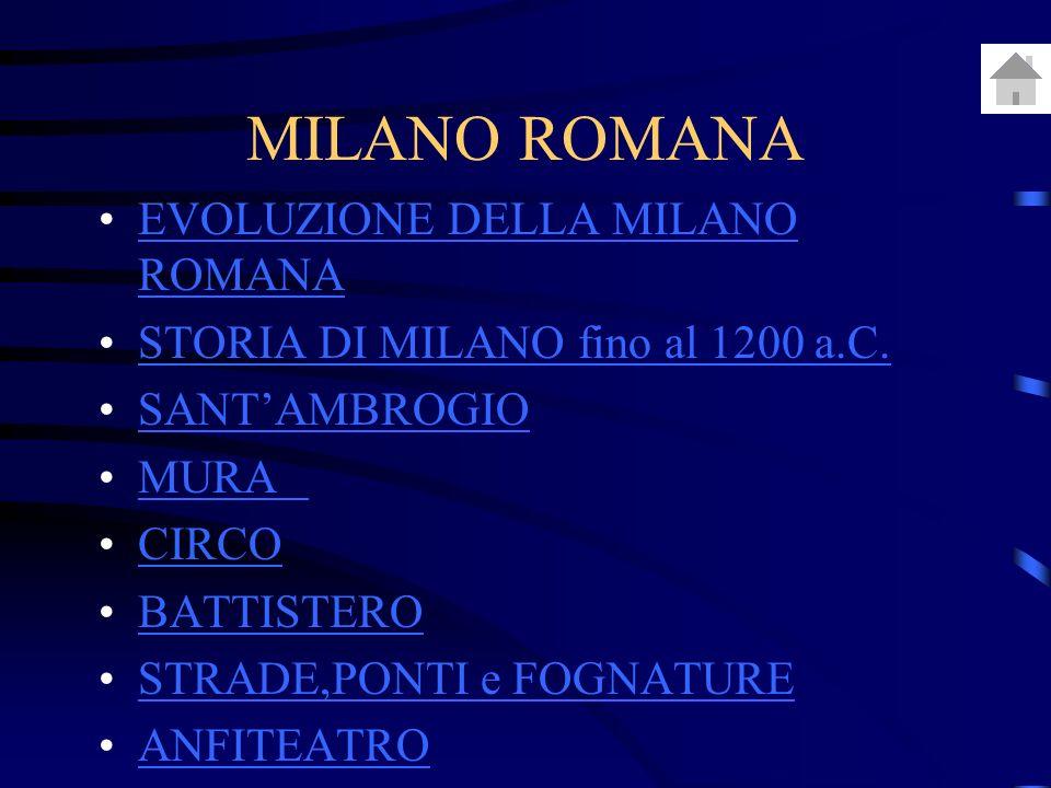 MILANO ROMANA EVOLUZIONE DELLA MILANO ROMANA