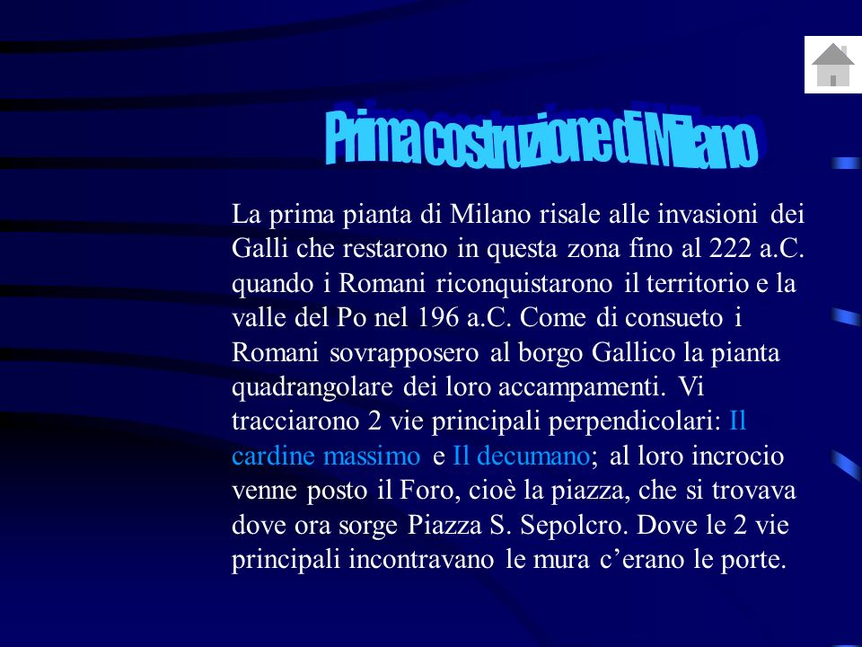 Prima costruzione di Milano