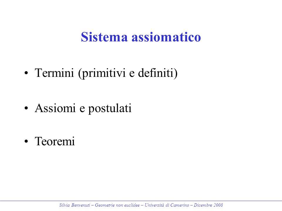 Sistema assiomatico Termini (primitivi e definiti) Assiomi e postulati