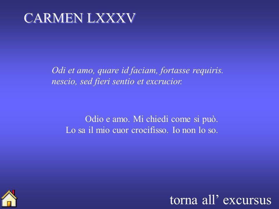 CARMEN LXXXV torna all' excursus