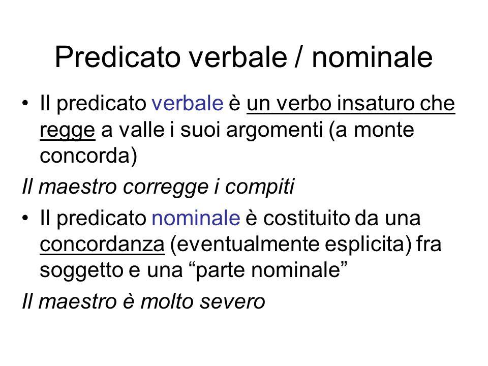 Predicato verbale / nominale