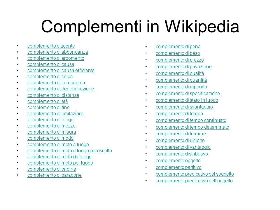 Complementi in Wikipedia