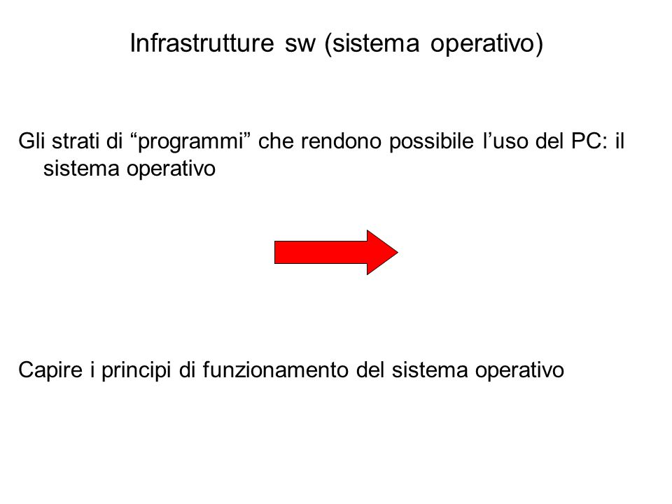 Infrastrutture sw (sistema operativo)