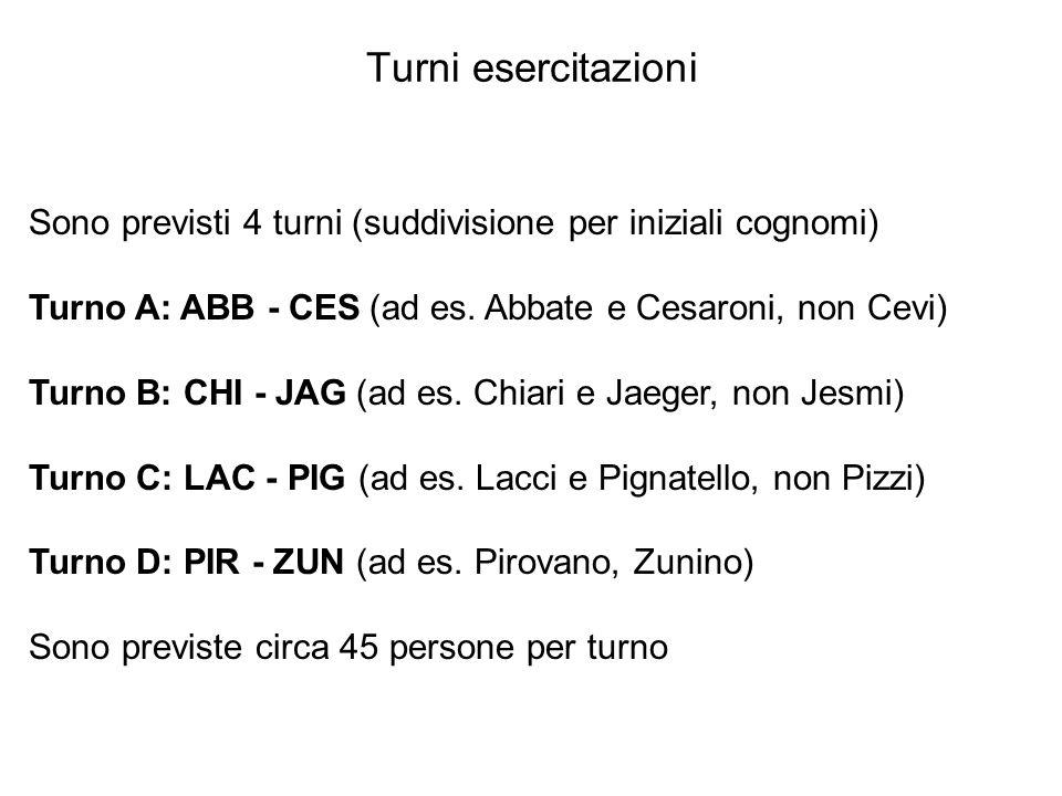 Turni esercitazioni Sono previsti 4 turni (suddivisione per iniziali cognomi) Turno A: ABB - CES (ad es. Abbate e Cesaroni, non Cevi)