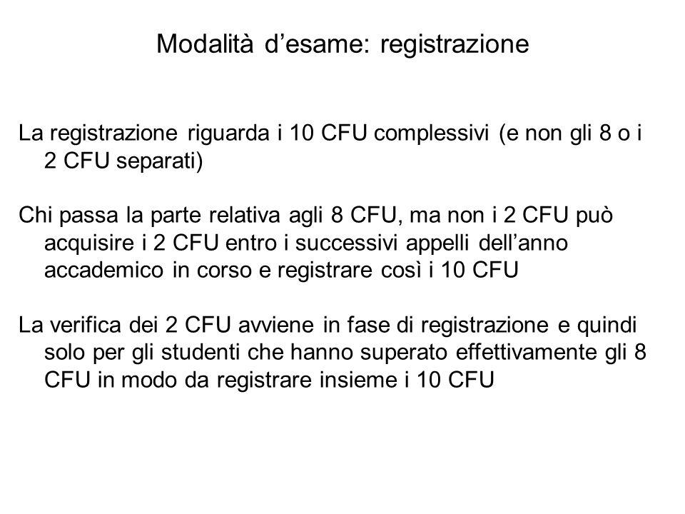 Modalità d'esame: registrazione