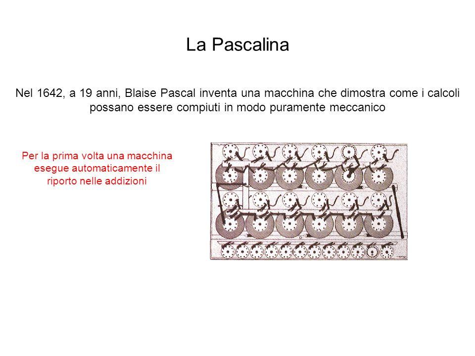 La Pascalina Nel 1642, a 19 anni, Blaise Pascal inventa una macchina che dimostra come i calcoli possano essere compiuti in modo puramente meccanico.