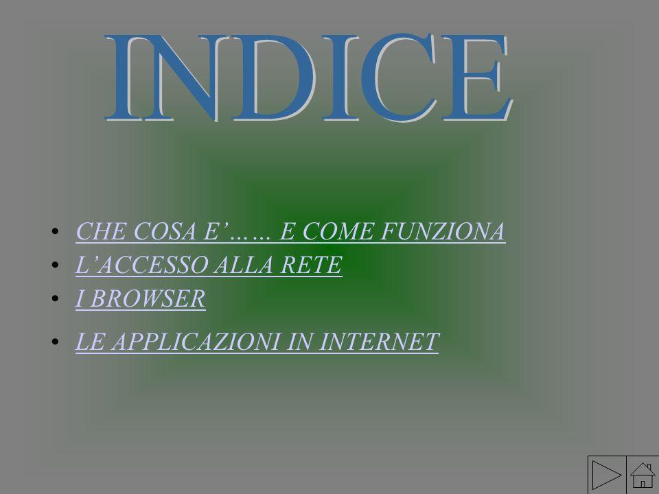 INDICE CHE COSA E'…… E COME FUNZIONA L'ACCESSO ALLA RETE I BROWSER
