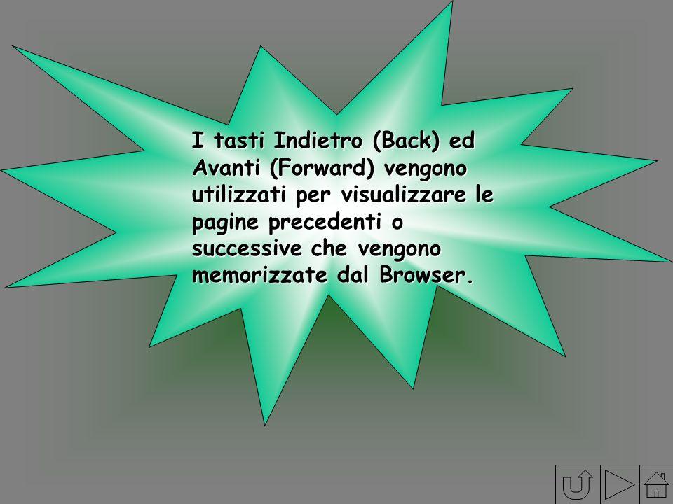 I tasti Indietro (Back) ed Avanti (Forward) vengono utilizzati per visualizzare le pagine precedenti o successive che vengono memorizzate dal Browser.