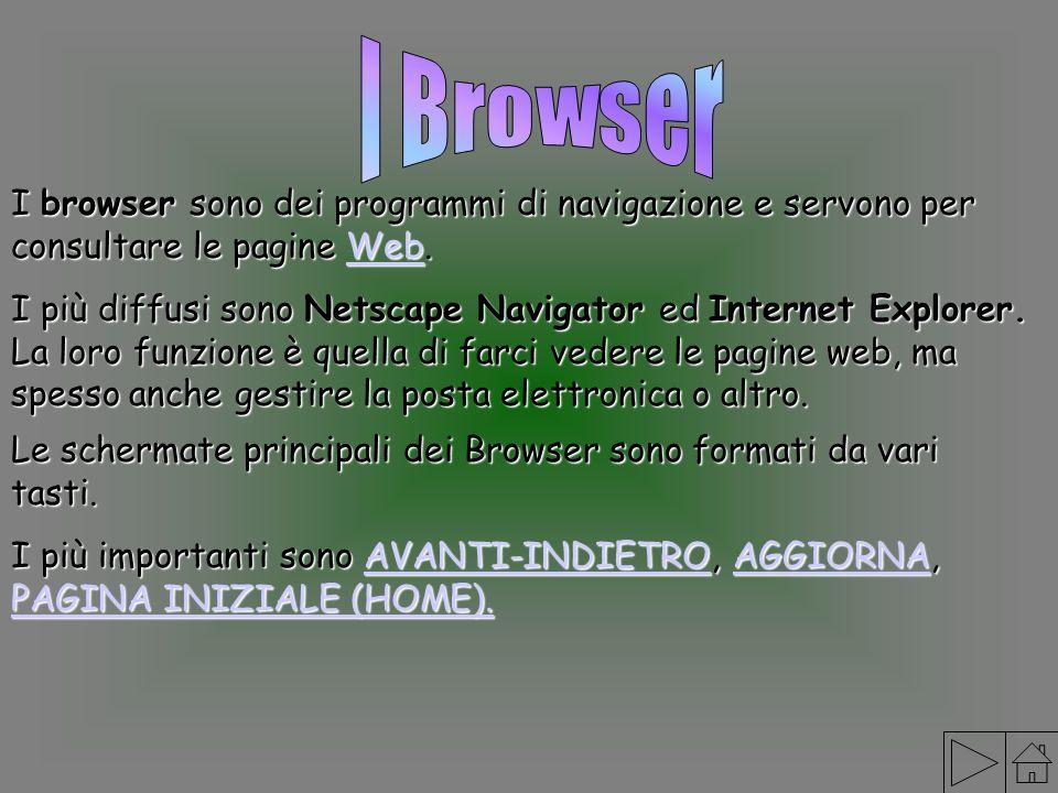 I Browser I browser sono dei programmi di navigazione e servono per consultare le pagine Web.