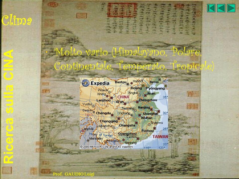 Clima Molto vario (Himalayano, Polare, Continentale, Temperato, Tropicale) Prof. GAUDIO Luigi