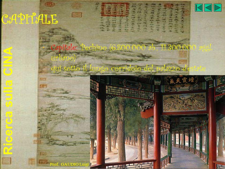 CAPITALECapitale: Pechino (6.800.000 ab., 11.300.000 aggl. urbano) qui sotto il lungo corridoio del palazzo d'estate.