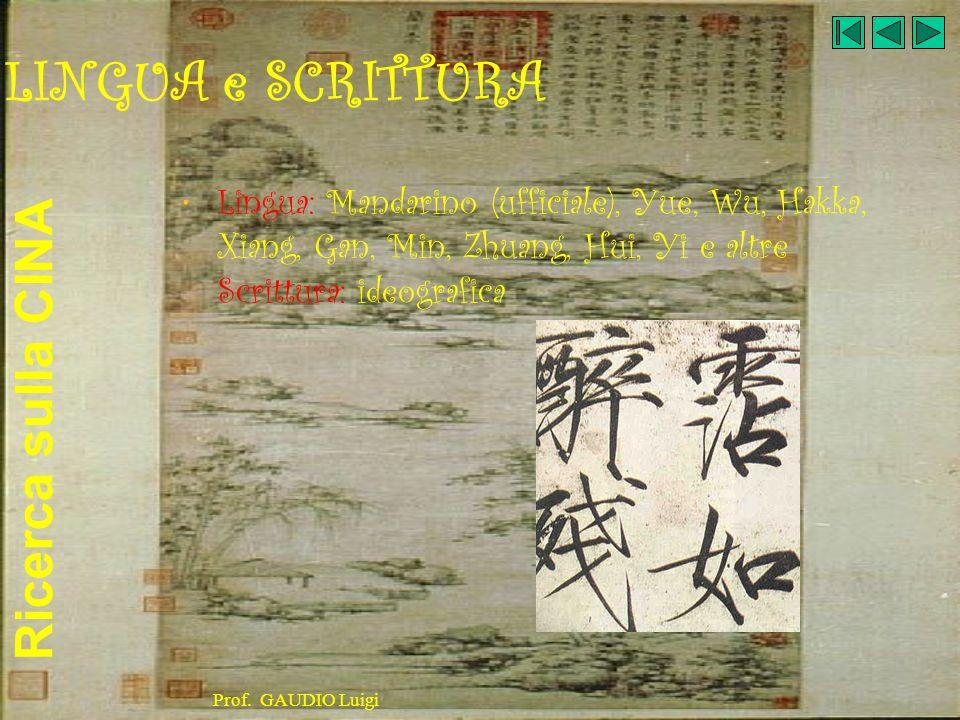 LINGUA e SCRITTURALingua: Mandarino (ufficiale), Yue, Wu, Hakka, Xiang, Gan, Min, Zhuang, Hui, Yi e altre Scrittura: ideografica.