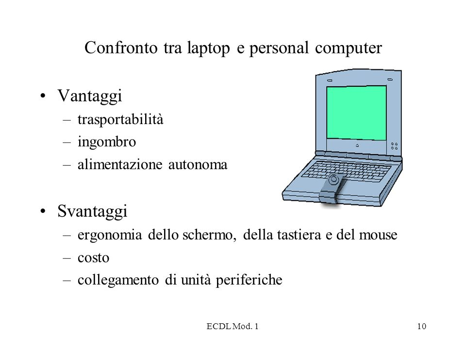 Confronto tra laptop e personal computer