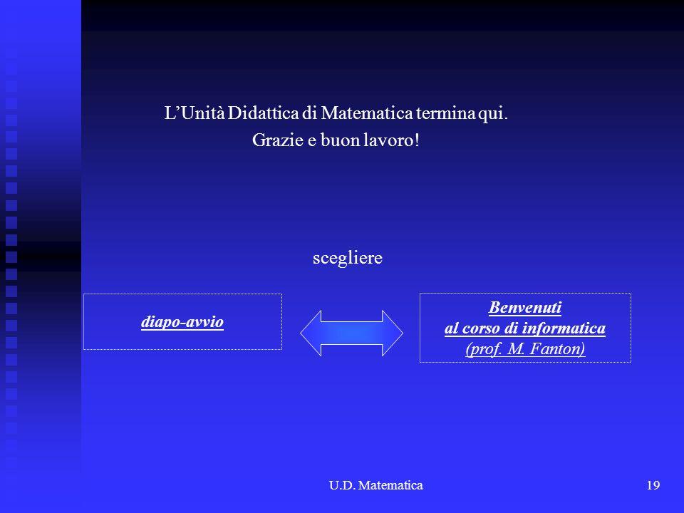 L'Unità Didattica di Matematica termina qui. Grazie e buon lavoro!