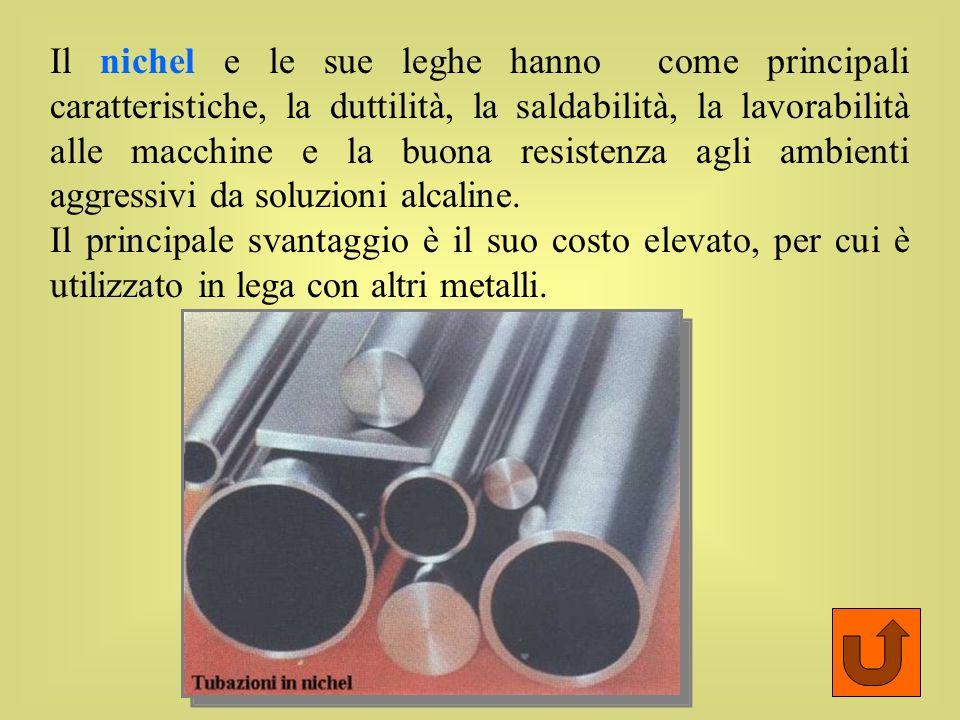 Il nichel e le sue leghe hanno come principali caratteristiche, la duttilità, la saldabilità, la lavorabilità alle macchine e la buona resistenza agli ambienti aggressivi da soluzioni alcaline.
