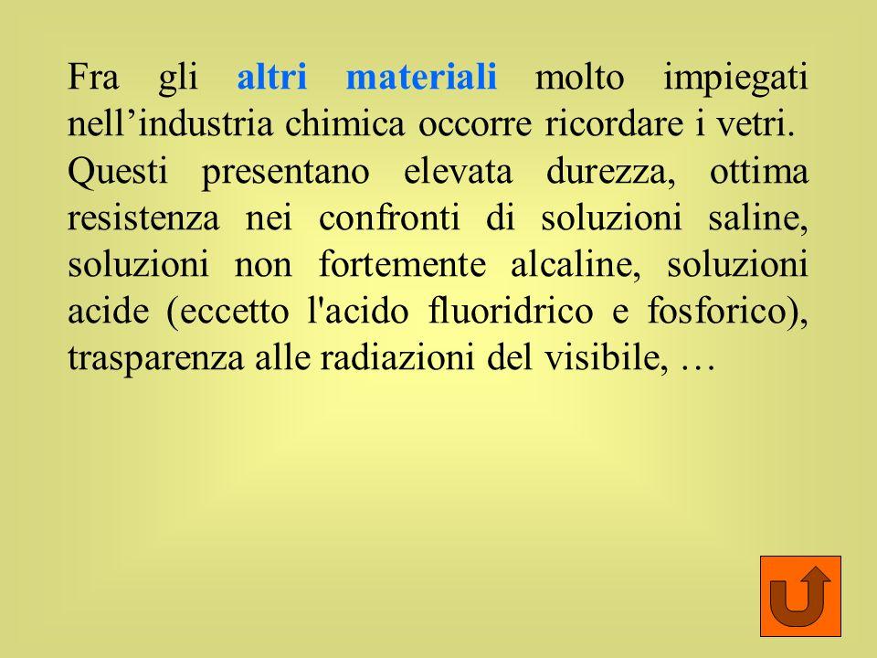 Fra gli altri materiali molto impiegati nell'industria chimica occorre ricordare i vetri.