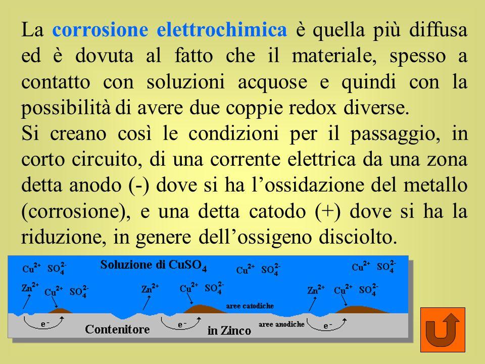 La corrosione elettrochimica è quella più diffusa ed è dovuta al fatto che il materiale, spesso a contatto con soluzioni acquose e quindi con la possibilità di avere due coppie redox diverse.