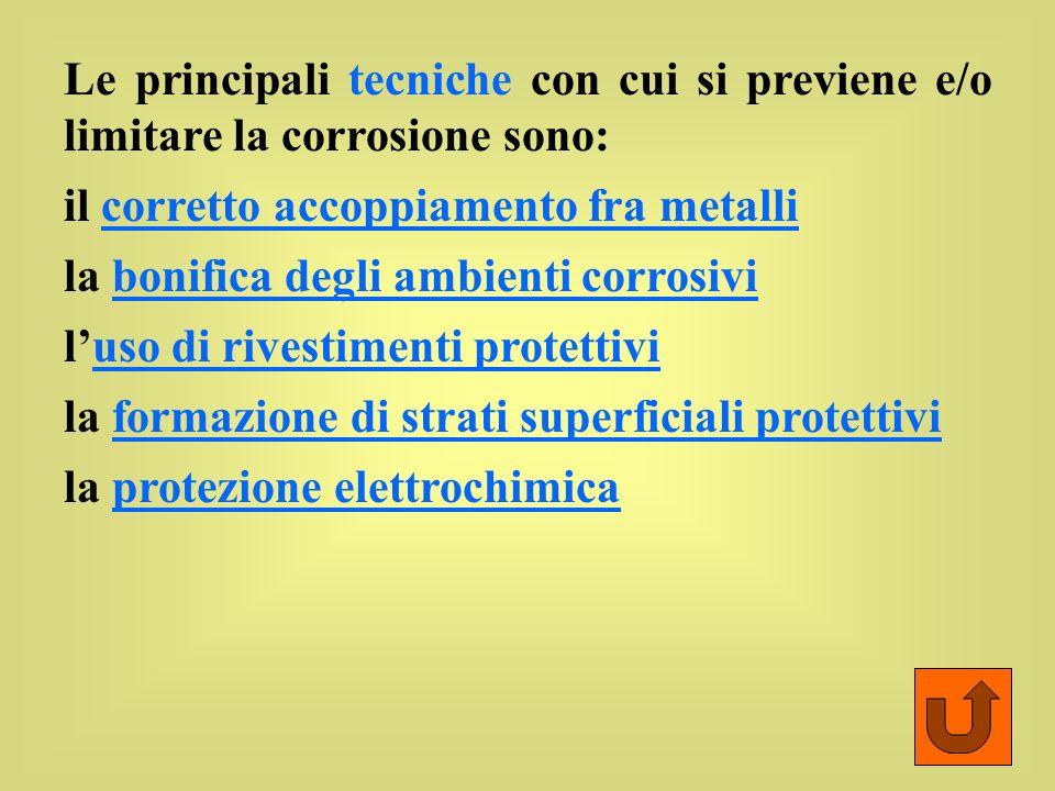 Le principali tecniche con cui si previene e/o limitare la corrosione sono: