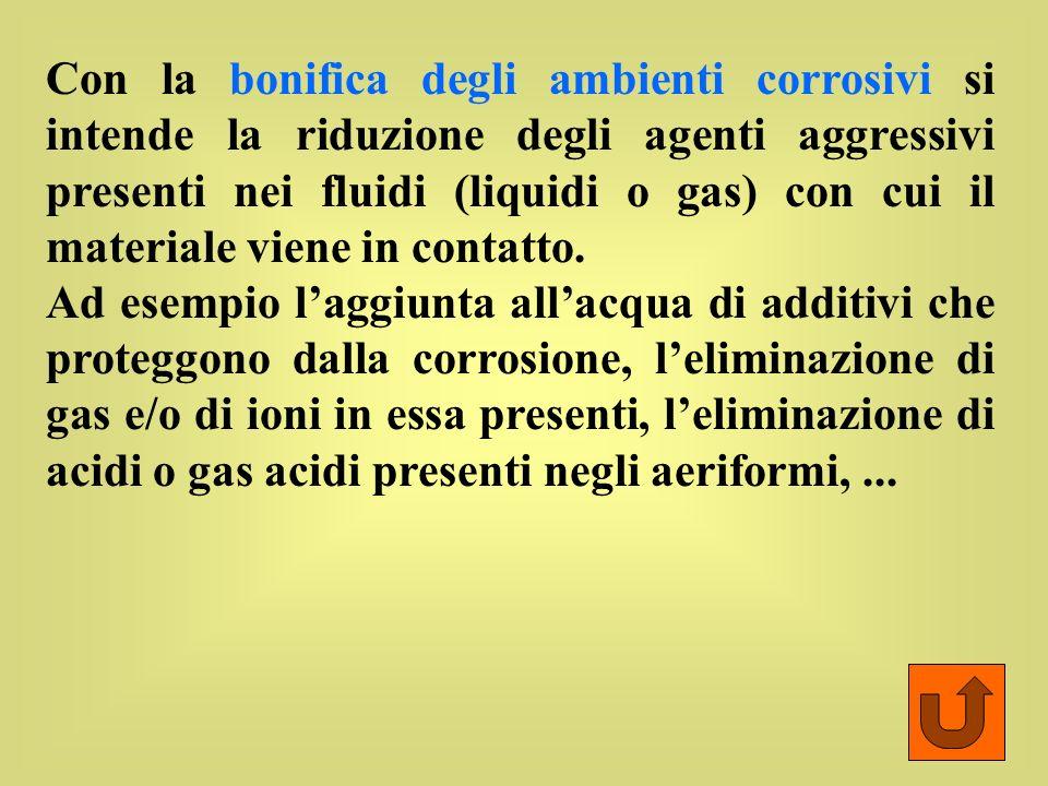 Con la bonifica degli ambienti corrosivi si intende la riduzione degli agenti aggressivi presenti nei fluidi (liquidi o gas) con cui il materiale viene in contatto.