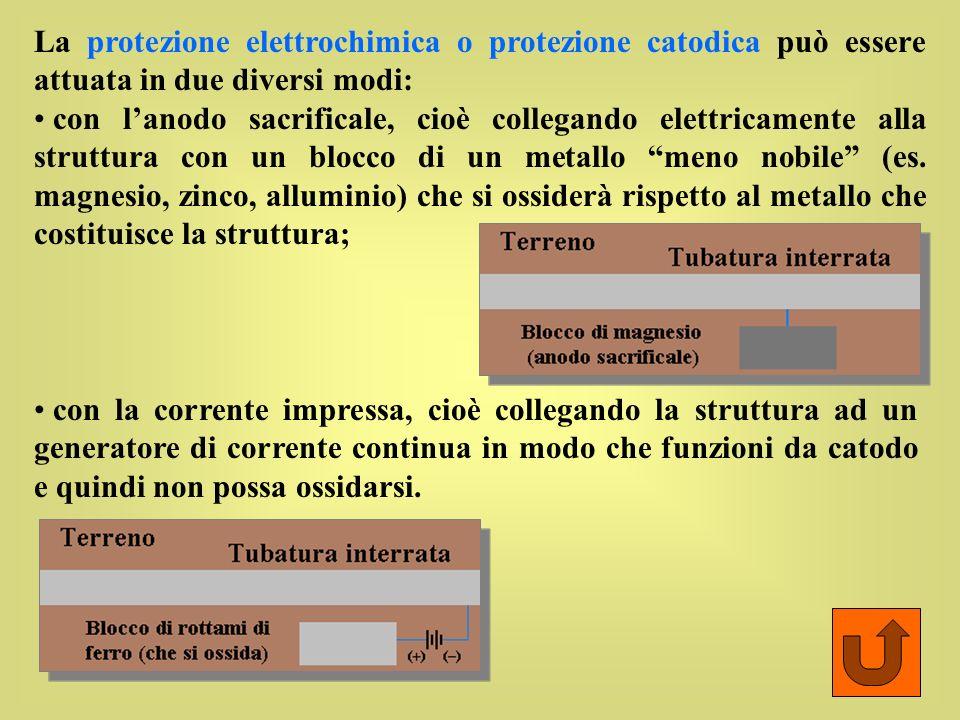 La protezione elettrochimica o protezione catodica può essere attuata in due diversi modi: