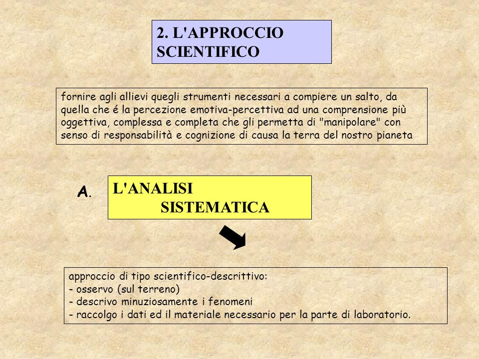 2. L APPROCCIO SCIENTIFICO