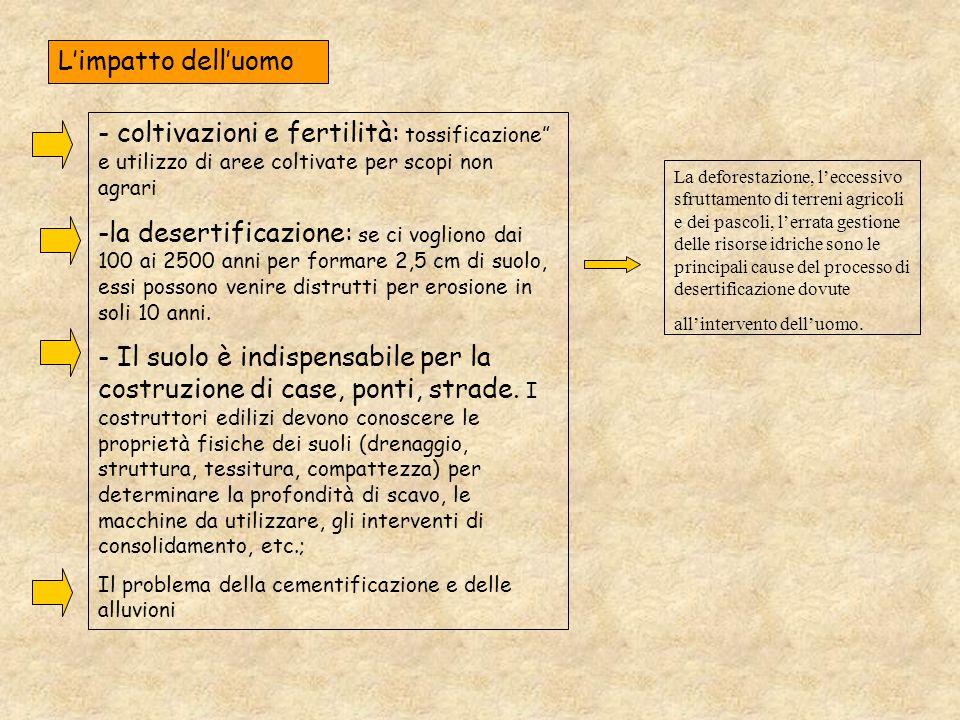 L'impatto dell'uomo - coltivazioni e fertilità: tossificazione e utilizzo di aree coltivate per scopi non agrari.