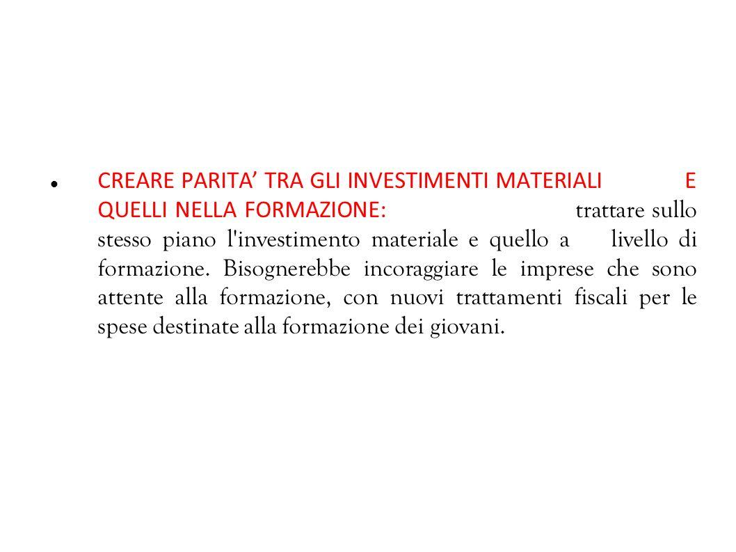 CREARE PARITA' TRA GLI INVESTIMENTI MATERIALI E QUELLI NELLA FORMAZIONE: trattare sullo stesso piano l investimento materiale e quello a livello di formazione.