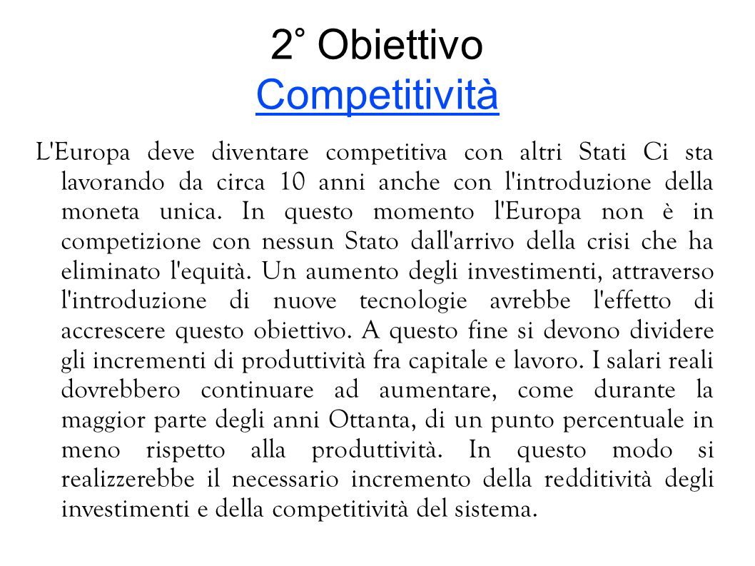 2° Obiettivo Competitività