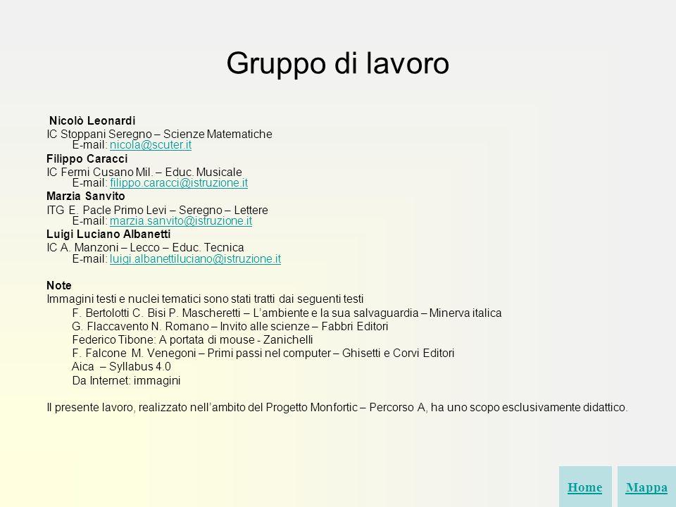 Gruppo di lavoro Home Mappa Nicolò Leonardi
