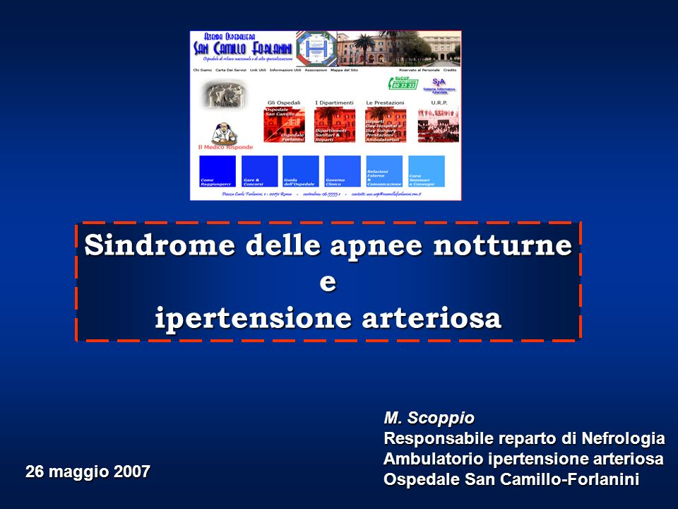 Sindrome delle apnee notturne ipertensione arteriosa