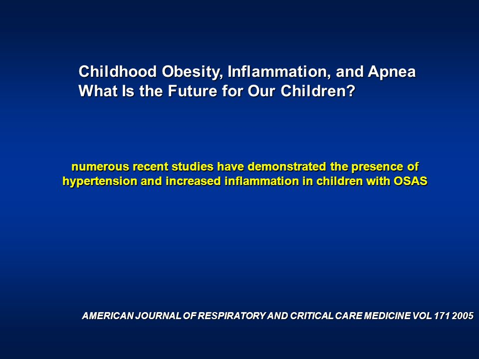 Childhood Obesity, Inflammation, and Apnea
