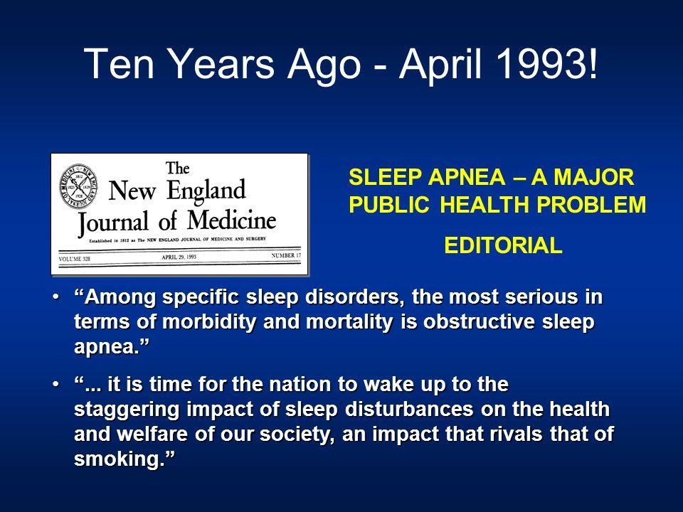 Ten Years Ago - April 1993! SLEEP APNEA – A MAJOR PUBLIC HEALTH PROBLEM. EDITORIAL.