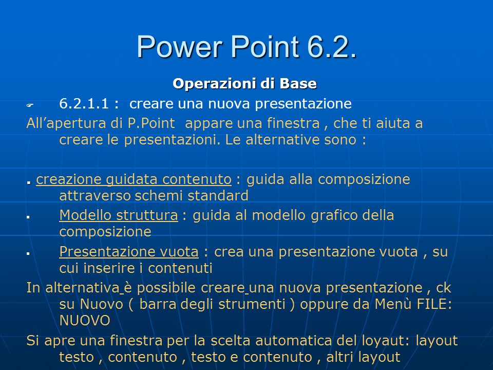Power Point 6.2. Operazioni di Base