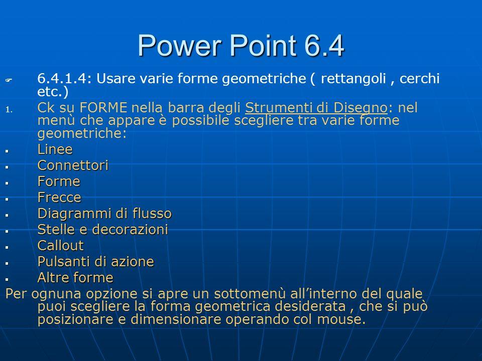 Power Point 6.4 6.4.1.4: Usare varie forme geometriche ( rettangoli , cerchi etc.)