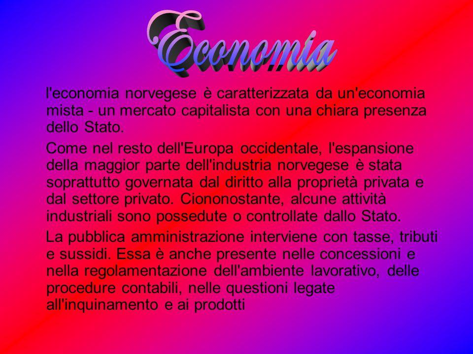 Economia l economia norvegese è caratterizzata da un economia mista - un mercato capitalista con una chiara presenza dello Stato.