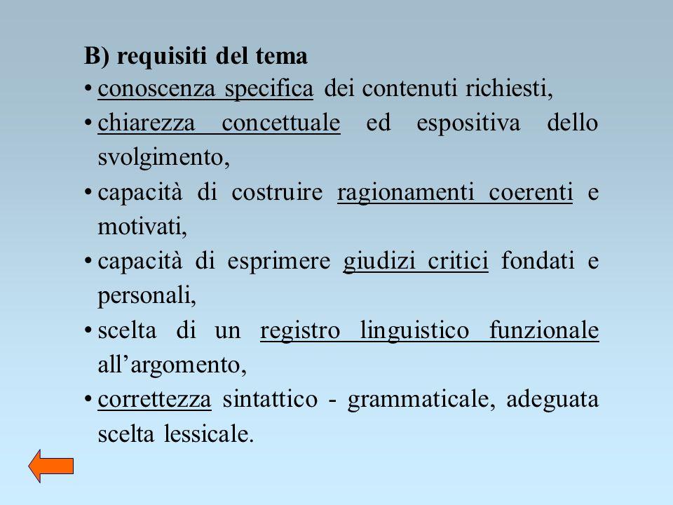 B) requisiti del tema conoscenza specifica dei contenuti richiesti, chiarezza concettuale ed espositiva dello svolgimento,