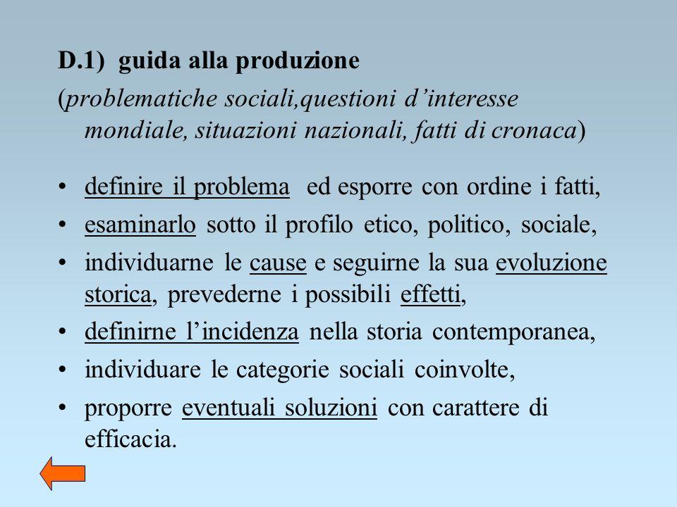 D.1) guida alla produzione