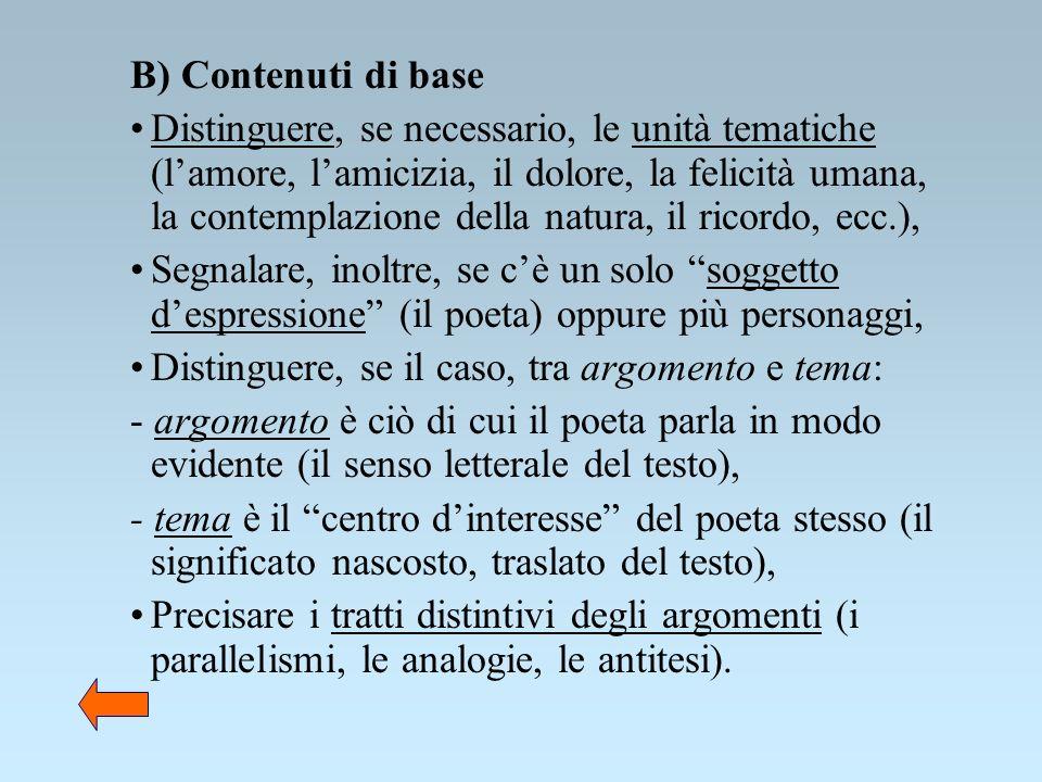 B) Contenuti di base