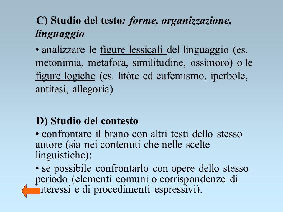 C) Studio del testo: forme, organizzazione, linguaggio