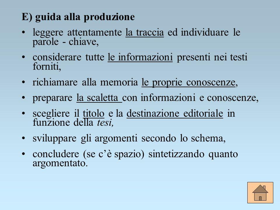 E) guida alla produzione
