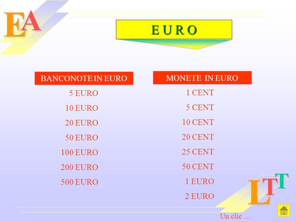 E L A T T E U R O BANCONOTE IN EURO MONETE IN EURO 5 EURO 1 CENT