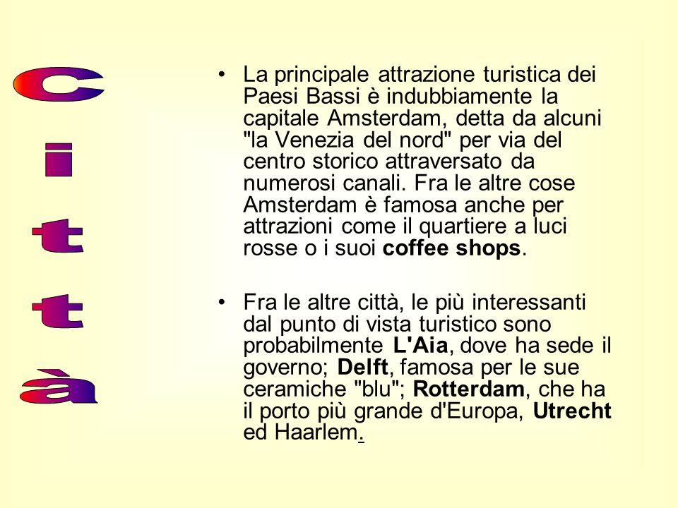La principale attrazione turistica dei Paesi Bassi è indubbiamente la capitale Amsterdam, detta da alcuni la Venezia del nord per via del centro storico attraversato da numerosi canali. Fra le altre cose Amsterdam è famosa anche per attrazioni come il quartiere a luci rosse o i suoi coffee shops.