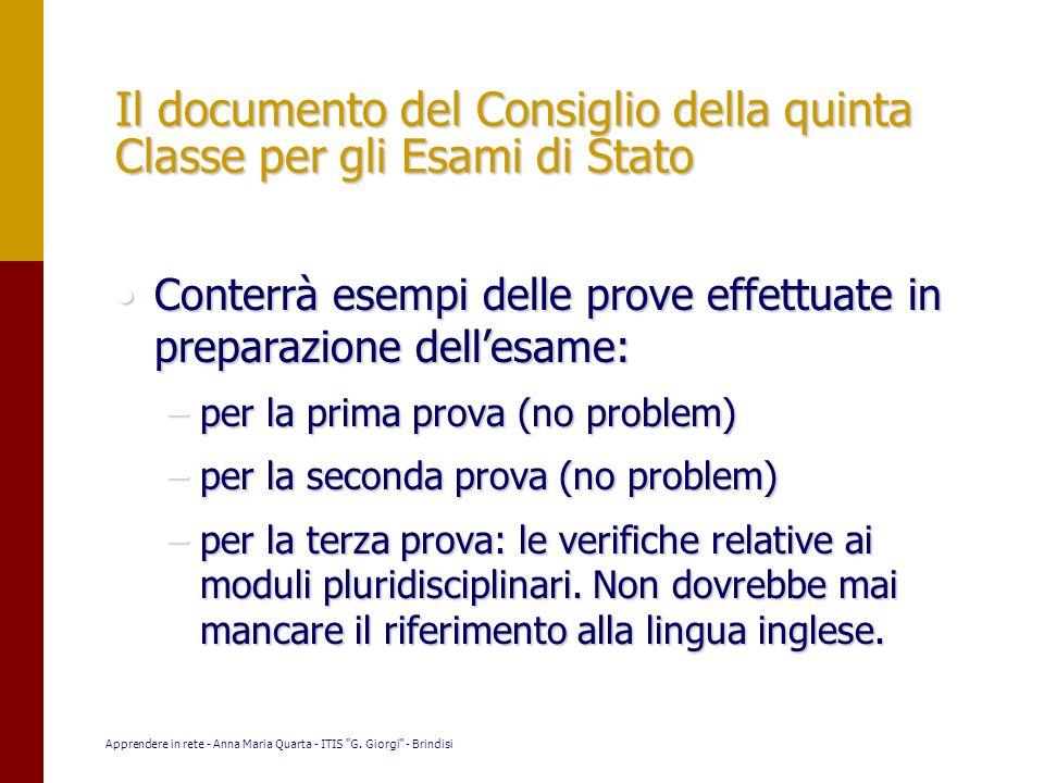 Il documento del Consiglio della quinta Classe per gli Esami di Stato