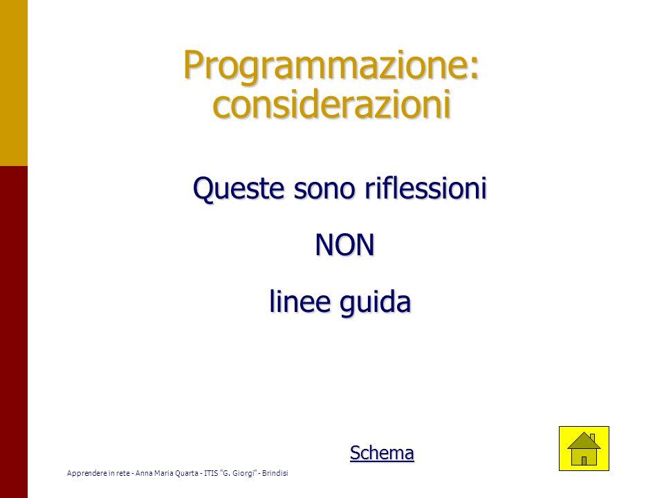 Programmazione: considerazioni