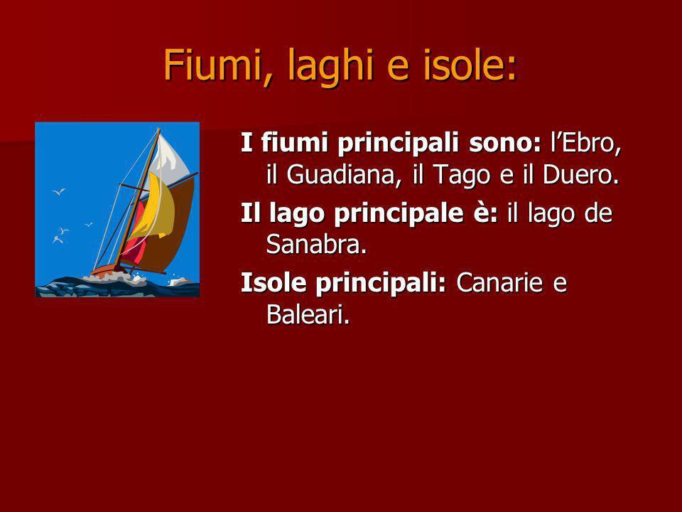 Fiumi, laghi e isole: I fiumi principali sono: l'Ebro, il Guadiana, il Tago e il Duero. Il lago principale è: il lago de Sanabra.