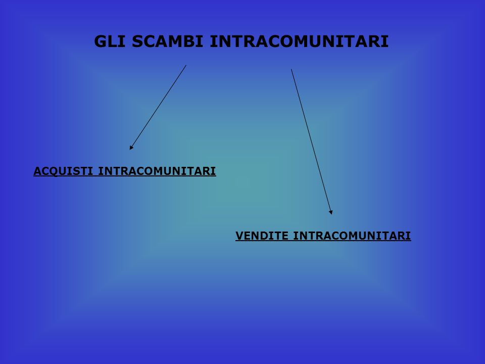 GLI SCAMBI INTRACOMUNITARI