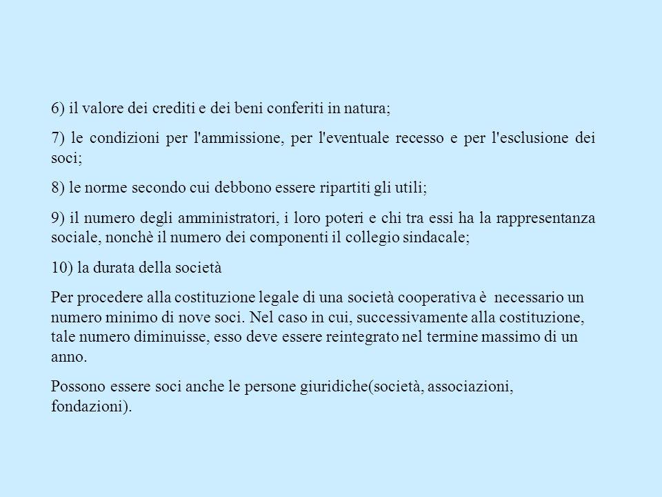 6) il valore dei crediti e dei beni conferiti in natura;
