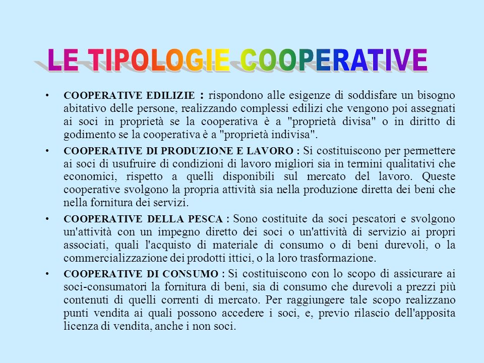 LE TIPOLOGIE COOPERATIVE