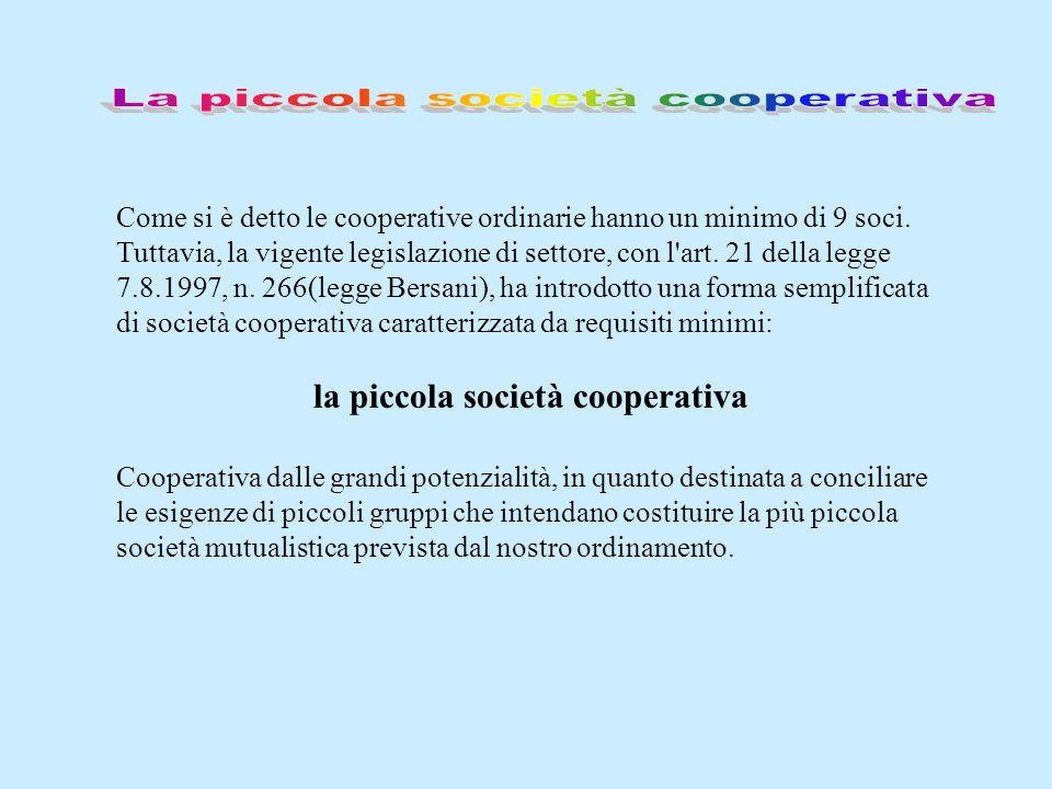 La piccola società cooperativa